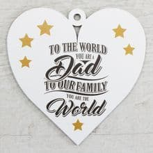 Printed 9.5cm Wood Heart cut from 3mm MDF Dad Daddy Fathers Day Gift - World